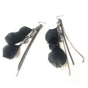 Long black feather earrings